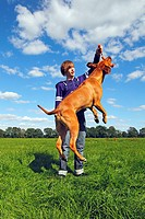 Young man playing with a male Rhodesian Ridgeback
