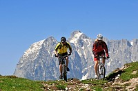 Mountain bikers on the Eggenalm alpine pasture in front of the Wilder Kaiser Mountains, Reit im Winkl, Bavaria, Germany, Tyrol, Austria, Europe