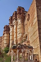 Low angle view of Mehrangarh Fort / Jodhpur, India