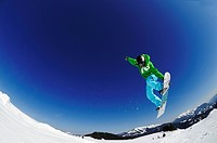 Snowboarder, fun park, ski resort of Reit im Winkl, Chiemgau, Upper Bavaria, Germany, Europe