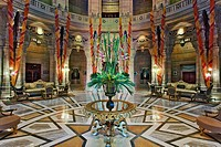 Interior rotunda of Umaid Bhawan Palace hotel / Jodjpur, India