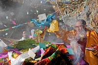 Offerings from Tibetan pilgrims at a ceremony at Namtso Lake, Heavenly Lake, Tibetan, China, Asia