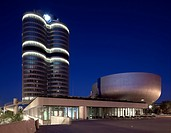BMW high_rise building and BMW Museum, headquarters of the Bavarian Motor Works, Munich, Bavaria, Germany, Europe