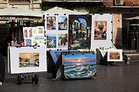 Painting sale, Piazza Navona, Rome, Italy, Europe