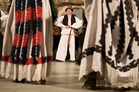 Croatia, Dalmatia, Dubrovnik. Folk dancers in traditional costumes.