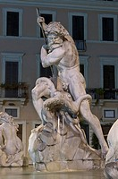 Nettuno lotta con una piovra, Neptune struggling with an octopus, by Antonio Della Bitta, 1878, detail of the Fontana del Nettuno, Piazza Navona, Rome...