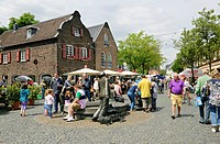 Visitors to the Oekomarkt organic market in the village of Lank-Latum, Meerbusch North Rhine-Westphalia, Germany, Europe