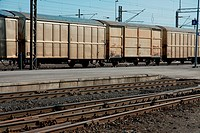 Freight train wagons at a station