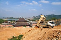 Construction site at the Chua Bain Dinh pagoda, currently a construction site, to become one of the largest pagodas in Southeast Asia, near Ninh Binh,...