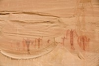 USA, Utah, Buckhorn Wash. Ancient sandstone pictographs, called the Alcove Paintings, drawn by the Fremont Culture. Credit: Don Grall / Jaynes Gallery...