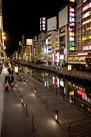 Dotonbori canal in the Dotonbori district in the evening, Osaka, Japan, Asia