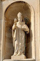 Croatia, Dubrovnik old town  Statue of St Blaise at the entrance of cathedral of the Assumption of the Virgin Mary Velika Gospa