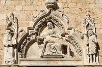 Croatia, Dubrovnik old town  Carving above south door of the Franciscan Monastery