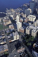 USA, WA, Seattle, Aerial of downtown, showing Elliott Bay and Pioneer Square area, Smith Tower