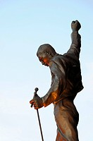 Freddie Mercury statue, Dominion Theatre, Queen Musical, We Will Rock You, London, England, United Kingdom, Europe