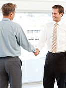 Two happy businessmen concluding a deal by shaking their hands standing in the office