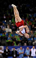 Jonathan Horton, USA, performing floor exercises, EnBW Gymnastics World Cup 2010, 28th DTB_Cup, Stuttgart, Baden_Wuerttemberg, Germany, Europe