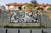 Guernica, by Pablo Picasso, reproduction made of tiles on a wall, Gernika Lumo, Guernica, Bizkaia province, Pais Vasco, Basque Country, Spain, Europe