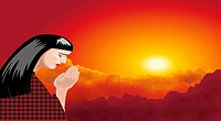 A praying woman with sunset landscape