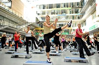 Step aerobics, Aerobic Convention, SpOrt, House of Sport, Stuttgart, Baden-Wuerttemberg, Germany, Europe