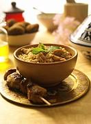 Arabic Food _ Chicken Kebab with Biryani Rice