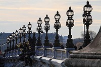Candelabra lamps on the Pont Alexandre III bridge, Paris, France, Europe