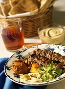 Meat Kebabs with bread & tea