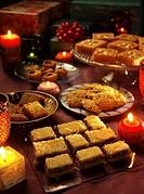 Assorted Arabic Sweets _ Konafa, Semolina Cake, Sesame Seed Brittle