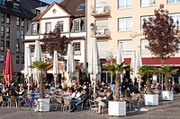 Cafe on the market place, Mannheim, Baden-Wuerttemberg, Germany, Europe