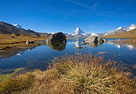Matterhorn and the Stellisee lake, Fluhalp, Switzerland