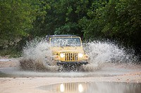 america, caribbean sea, hispaniola island, dominican republic, area of punta cana, beach, off-road car, wade