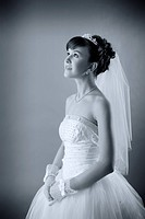 young bride dressed in elegance white wedding dress
