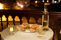 Sandwiches, olives and white wine served on a balcony, La Playa, Valle Gran Rey, La Gomera island, Canary Islands, Spain, Europe