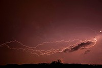 Thunderstorm at night with lightning, Styria, Austria, Europe
