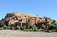 Mountain village known as a film set on the edge of the Sahara, Ait Benhaddou, Morocco, Africa