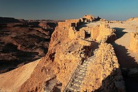 Israel  Masada fortress on the edge of the Judean Desert  A view towrd the north west  On the left remains of the Roman legionary camp
