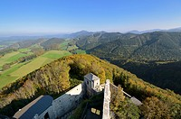 View from the tower of Araburg Castle looking east, Lower Austria, Austria, Europe