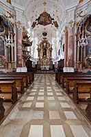 Frauenkirche Church of Our Lady by Dominic Zimmermann in rococo style, Guenzburg, Donauried, Swabia, Bavaria, Germany, Europe