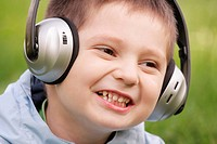 Portrait of smiling boy in headphones