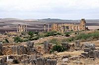 Ruins of the basilica, archaeological excavation of the ancient Roman city Volubilis, UNESCO World Heritage Site, Morocco, Africa