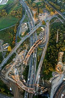 Aerial view, bridge construction of the A40 highway, traffic jams, A40 Donetsk_ring bridge works, Bochum, Ruhr Area, North Rhine_Westphalia, Germany, ...