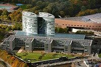 Aerial view, EON Ruhrgas headquarters, office tower at the Gruga, Essen_Ruettenscheid, Essen, Ruhr area, North Rhine_Westphalia, Germany, Europe