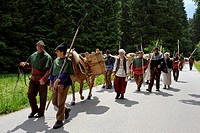 Historical sumpter procession on the Golden Path trade route in the Bohemian Forest, Czech Republic, Europe