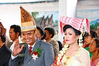 Bride and groom, wedding ceremony, Siantar, Batak region, Sumatra, Indonesia, Asia