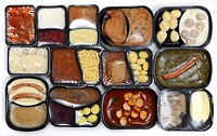 Different meals in plastic containers, pre-cooked, portioned for one person