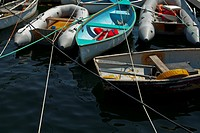 Moored boats with crossed lines
