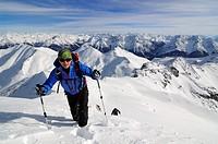 Ski mountaineers on their way to Tiz Tasner, Engadin, Grisons, Switzerland, Europe