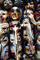 A variety of masks displayed for sale in Venice, Veneto, Italy