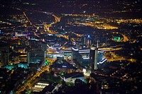 Aerial view, night shot, RWE-Tower, skyscraper, Essen, Ruhrgebiet region, North Rhine-Westphalia, Germany, Europe