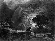 Moses and the Burning Bush, Exodus Chapter 3, Black and White Illustration